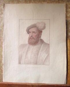 Vintage-HOLBEIN-Engraving-MONS-De-SAINCTE-CORNEILLE-C-1794-Bartolozzi