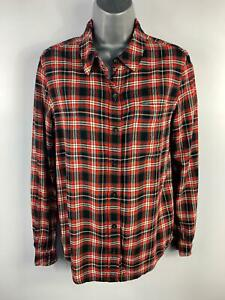 WOMENS FOREVER 21 BLACK/WHITE/ORANGE CHECK CASUAL SHIRT/BLOUSE TOP SIZE SMALL
