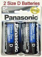 2pcs Size D Panasonic Battery Batteries Super Heavy Power Duty Zinc Carbon
