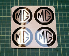 4 x 110mm ALLOY WHEEL STICKERS MG logo Chrome Effect on Black centre cap
