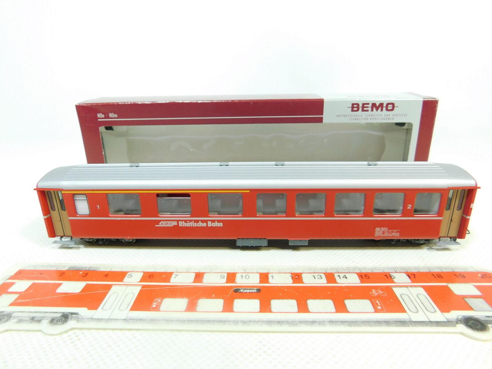 BR30-0,5 Bemo H0m   Dc 3251 123 Vagones 1 2. Clase Ab 1523 Rhb ,Nuevo +