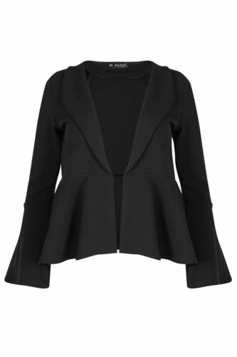 Womens Blazer slit Sleeve Ladies Front Open Blazer Peplum Ruffle Frill Cardigan