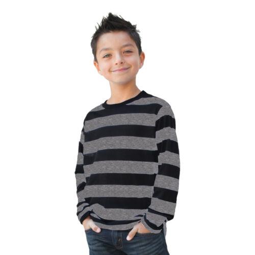 Teen NYC Long Sleeve PUNK Striped Shirt Black Gray S M L XL Boys CHILD