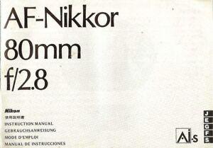 1980s-NIKON-AF-NIKKOR-80mm-f-2-8-LENS-INSTRUCTION-MANUAL-for-nikon-35mm-SLR