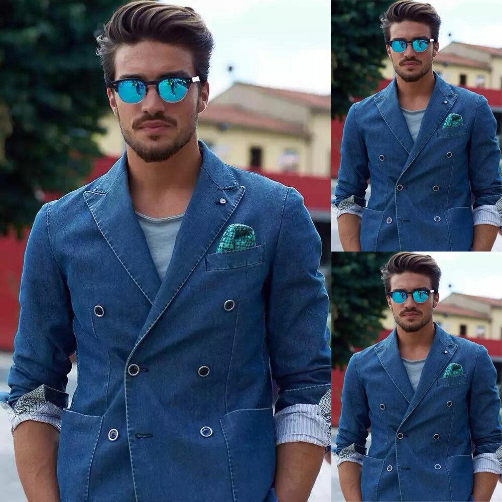 Details about  /Men/'s Denim Blue Sports Suits Blazer Double-breasted Leisure Peak Lapel Tailored