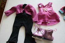 American Girl doll ice skating outfits and shoes leotard purple sweater