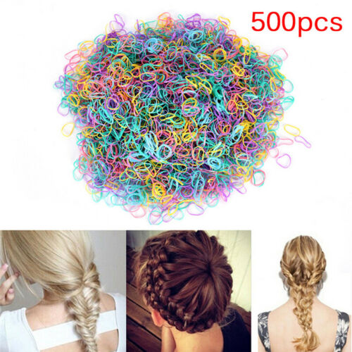 500PCS Rubber Braiding Plait Small Hair Band Hairope Elastic Tie Ponytail Gut ZF