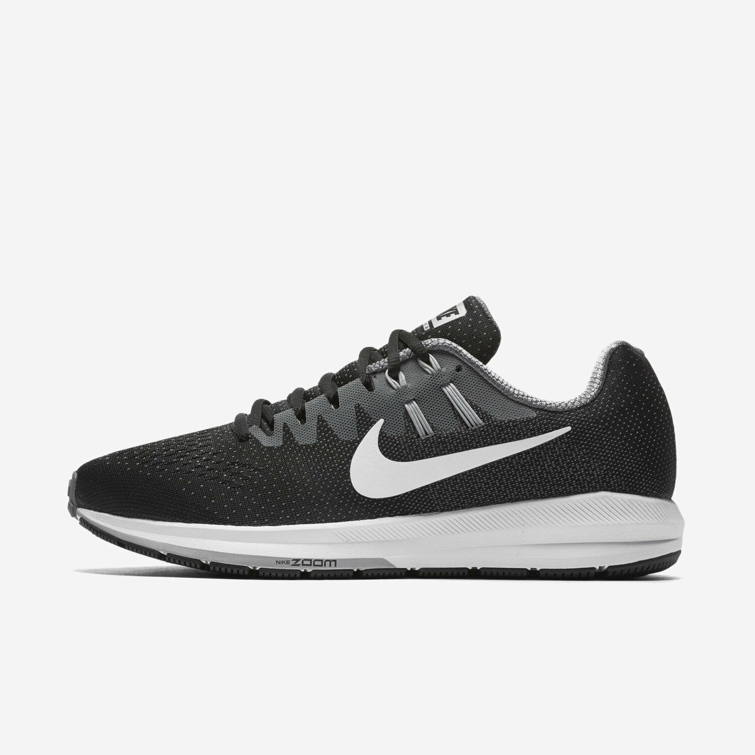 Mens Nike Air Zoom Structure 20 Sz 6.5 Black White Grey 849576-003 FREE SHIPPING
