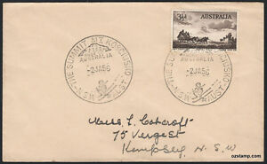 1956-Mount-Kosciusko-Summit-Pictorial-Postmark-cv-250-Cover-APM1135-Stamps