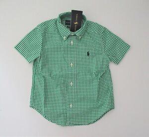 NWT-Ralph-Lauren-Boys-Short-Sleeve-Green-Gingham-Button-Down-Shirt-Sz-6-NEW-35