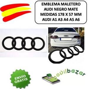EMBLEMA-LOGO-INSIGNIA-AUDI-A3-A4-A5-A6-NEGRO-MATE-TRASERO-MALETERO-178-X-58mm