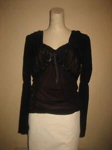 Parasuco-Black-Long-Sleeve-Double-Layer-Pheasant-Corset-Top-Size-L
