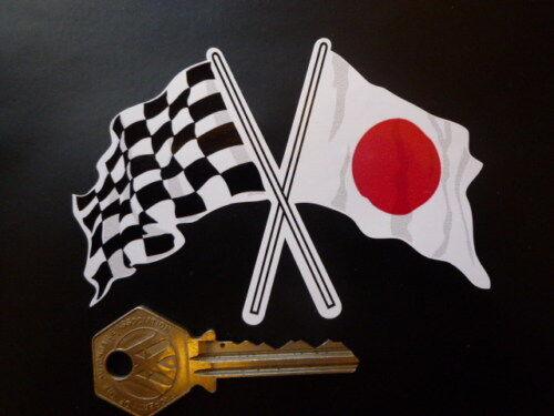 Crossed Japanese Hinomaru /& Chequer Flag sticker 10cm