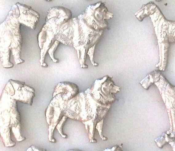 VINTAGE 1960s  ENGLISH SILVER  SLED DOG,ESKIMO ,SAMOYED HUSKY PIN BROOCH