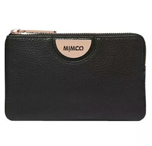 MIMCO-Black-Pouch-Echo-Leather-Wallet-Bag-Purse-BNWT-Rosegold-Hardware-Dust-Bag