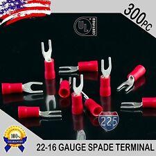 300 Pack 22 18 Gauge Vinyl Spade Fork Crimp Terminals 6 Stud Tin Copper Core Ul