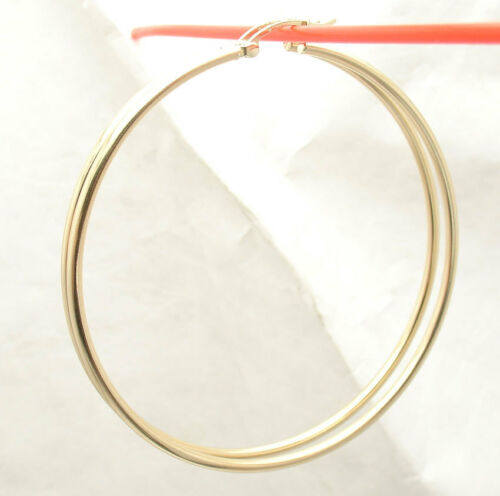 "2mm X 60mm 2 3//8/"" Large Plain Shiny Hoop Earrings REAL 14K Yellow Gold"
