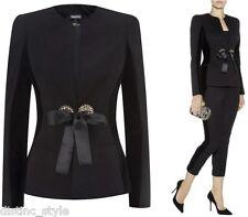 ICONIC CHIC ELEGANT Alexander McQueen black collar less jacket w/velvet trim
