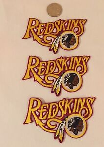 "(3) Washington Redskins Vintage Embroidered Iron On Patches 3.5"" x 2.5 Awesome!"