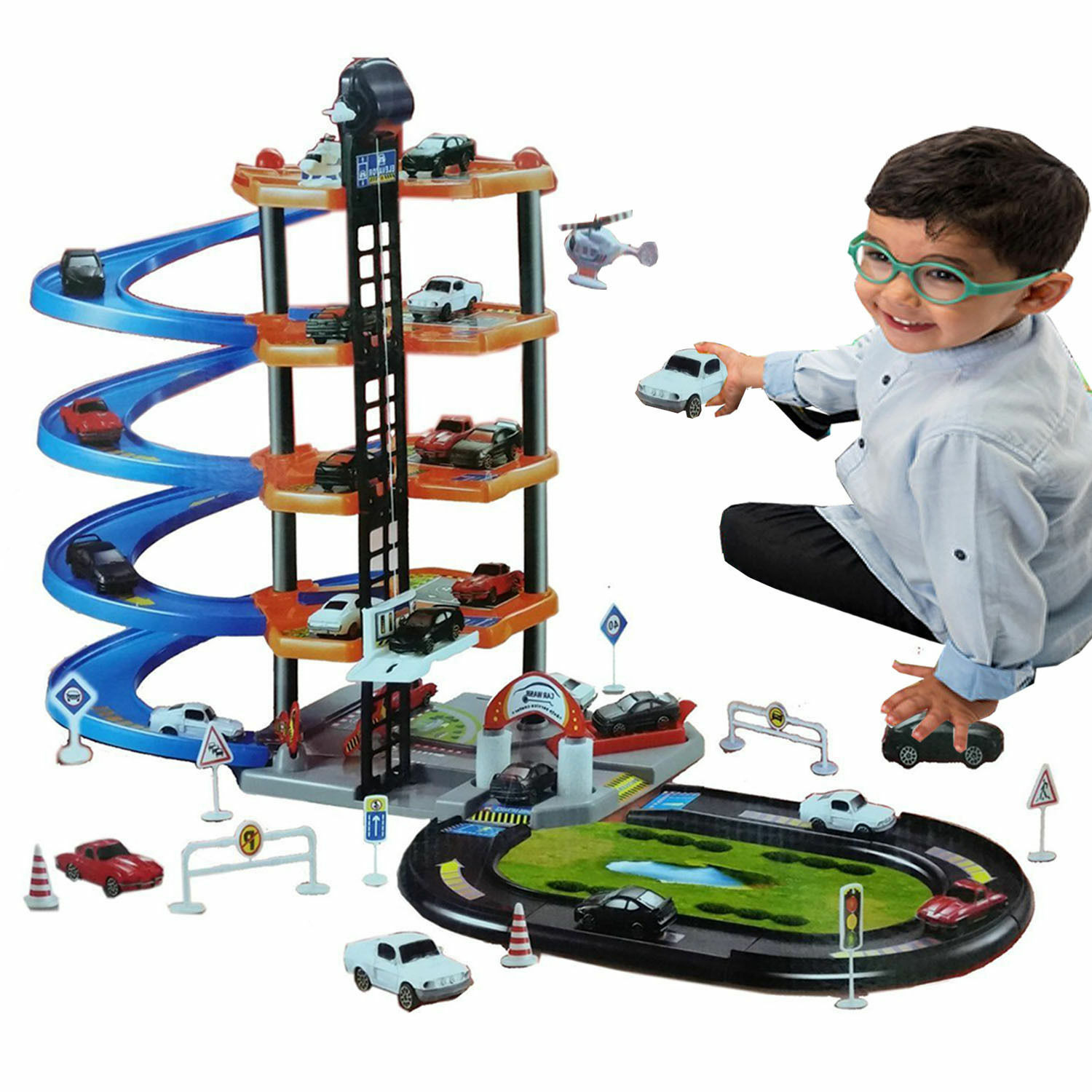 5 Level Car Parking Garage Set Tower Lift Accessories Set Toy Ideal Xmas Gift