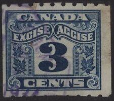 Canada VanDam # FX47 3c blue Excise Tax - 2 leaf - Perf 8 coil  - 1915