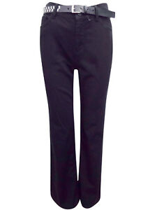 EX M&S PER UNA BOOT LEG BLACK BELTED JEANS WITH STRETCH 10-14 INC P&P