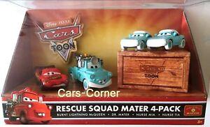 Disney-Pixar-Cars-Toon-Burnt-Lightning-McQueen-Dr-Mater-amp-Nurse-Mia-amp-Tia-OVP