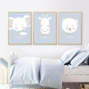 Details About Cartoon Woodland Animal Canvas Poster Bear Rabbit Giraffe Nursery Wall Art Print