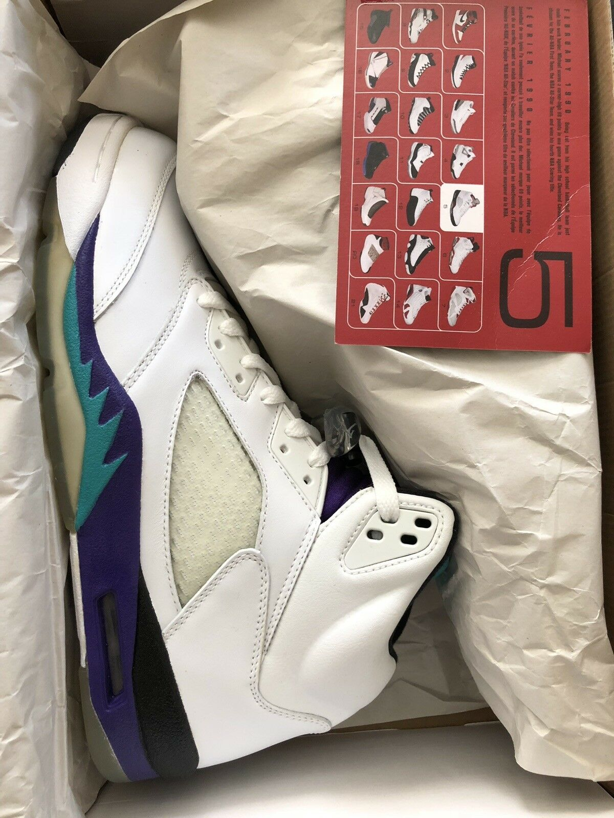 2006 Air Jordan 5 Retro LS Grape DS Size 11.5 314259-131