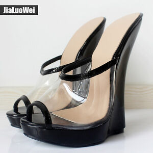 Image is loading 2018-Summer-Women-Sexy-Transparent-Sandals-18cm-High- 90999051d7df