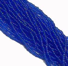 Sapphire Blue Ab Czech 8/0 Glass Seed Beads  12 Strand Hank Preciosa