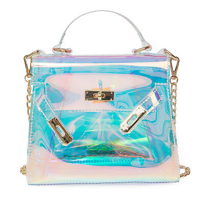 Women Holographic Bag Clear Transparent Small Tote Hologram Handbag Purse Laser