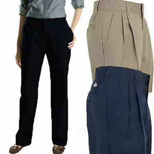 Dickies Work Pants Womens Pleated Front Wrinkle Resistant Black ...