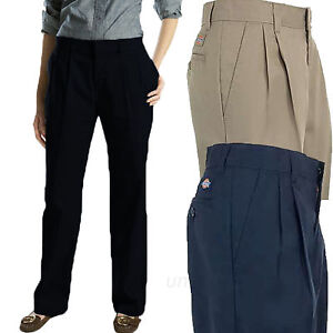 Image is loading Dickies-Work-Pants-Womens-Pleated-Front-Wrinkle-Resistant- 05af6a18b3