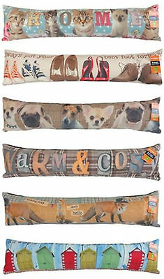 DRAUGHT EXCLUDERS IN RETRO DESIGNS FOX PUG BOOTS HOME GIFT COLD WINTER DRAUGHT