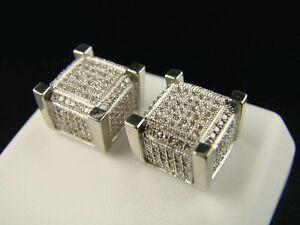 Ice Cube Block Mens//Ladies Diamond Stud Earrings 8 Mm