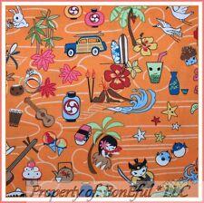 BonEful Fabric FQ Cotton Orange Flower Anime Asian Fish Woody Car Beach Surf Boy