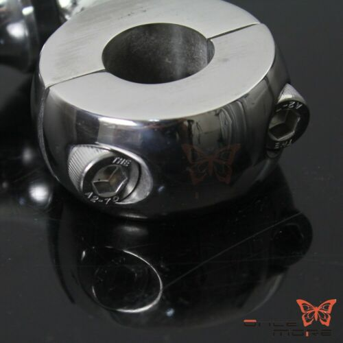 """Poilished Motorcycle 7//8/"""" Handlebar Riser Mount Clamp Adapters Kit Universal"""