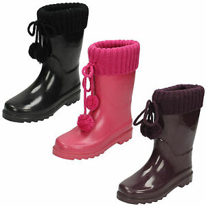 WHOLESALE-Girls-Knitted-Collar-Pom-Pom-Wellingtons-Size-10x2-14pairs-X1172