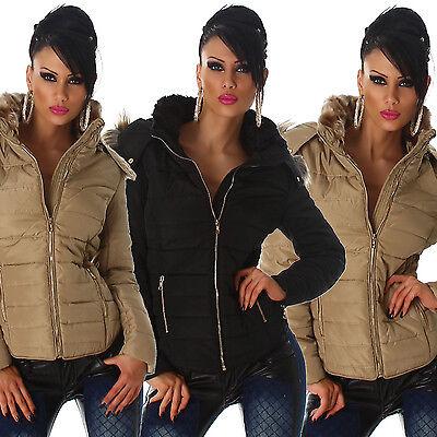 Steppjacke Kapuze & Fellkragen Winter Mantel Damen Outdoor Jacke warm Neu Größe