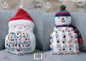 KINGCOLE-4871-KNITTING-PATTERN-Snowman-amp-Santa-Advent-Cushions-Make-your-own
