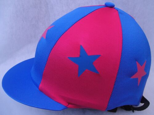 Riding Hat Silk Skull cap Cover ROYAL BLUE /& HOT CERISE PINK With OR w//o Pompom