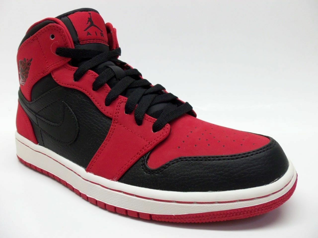 NIKE AIR JORDAN 1 MID  BRED  BLACK BLACK-GYM RED SIZE MEN'S 9 [554724-005]