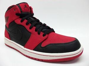 competitive price 3c02e 8312b Image is loading NIKE-AIR-JORDAN-1-MID-034-BRED-034-