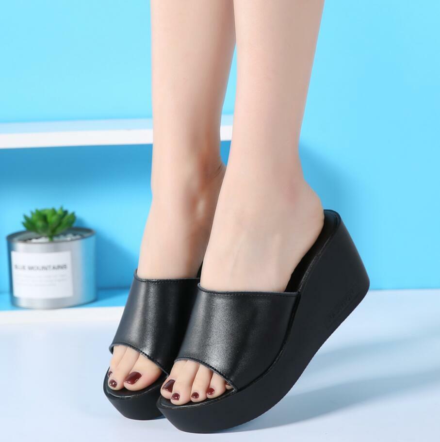 New donna Slide Slipper Wedge High Heel Platform Sandals scarpe Flip Flops Mules