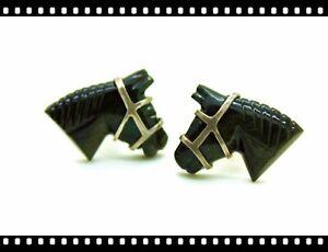 Vintage-Antique-Sterling-Silver-Carved-Horse-Cufflinks-Cuff-Links-Artisan
