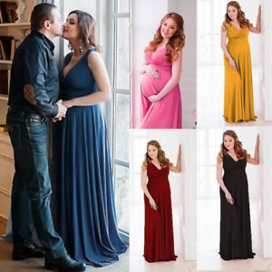 08b0d1fcffc79 Maternity Maxi Dress Long Wrap V-Neck Baby Shower Pregnancy Gown ...