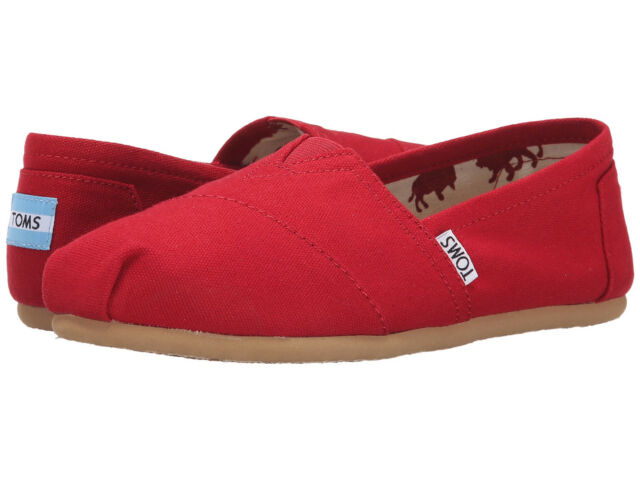 NEW TOMS CLASSIC WOMEN RED CANVAS SLIP ON AUTHENTIC FREE SHIPPING 001001B07