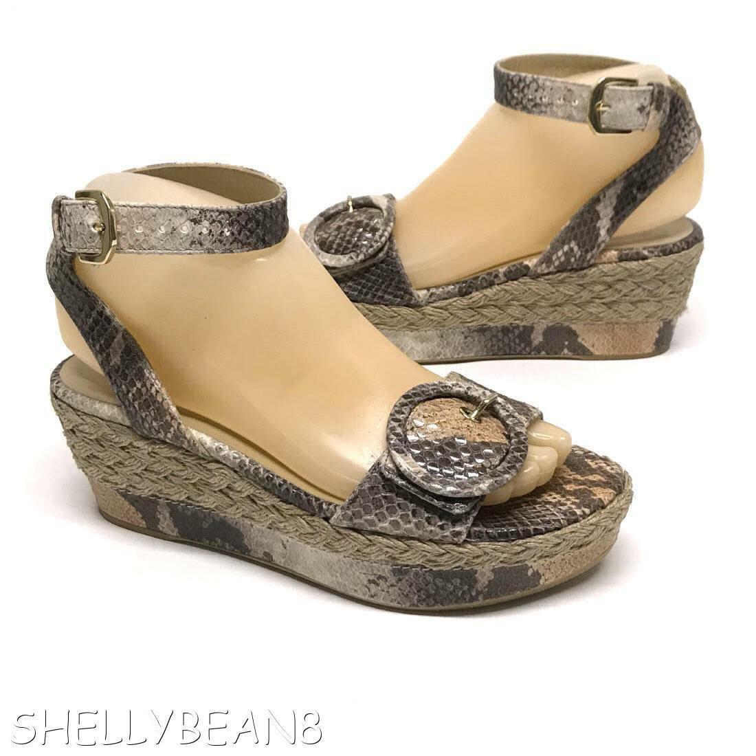 STUART WEITZMAN Platform Espadrilles WEDGE Sandals SNAKE PYTHON Heels 5.5 N  435