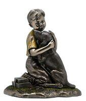 Boy With Labrador Retriever Puppy Statue, Bronze Powder Cast 4 7/8-in, New, Free on sale